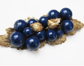 Leaf Berry Brooch - flower - Gold Brass leaves - Blue Berries Grapes Pin - Victorian Bar Brooch