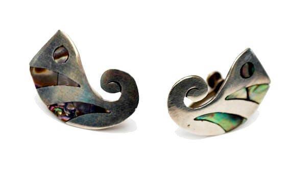 Sterling  Abalone Earrings - Signed Sterling - AA Adan Alvarado  - Assay number 2 - screw back earring