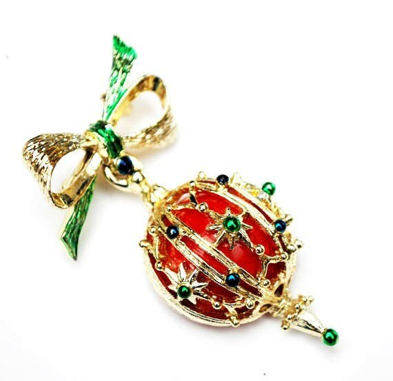 Christmas Ornament Brooch - Holiday pin - Red ball - Gold bow dangle pin