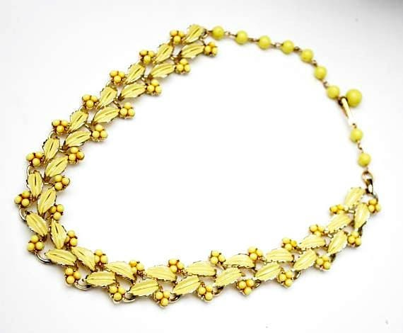 Vintage Yellow floral  link necklace - signed Coro - yellow enamel leafs- Lucite berries  - Mid century  Necklace
