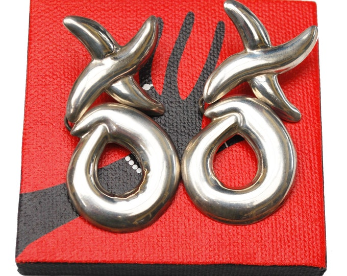 Sterling Dangle earrings Mexico - silver Door knocker - XO design - Pierced Earrings - Large Bold Modernistic