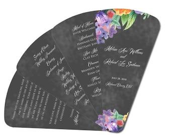 Summer Sale Chalkboard Floral Four Petal  Wedding Ceremony Program Fan - Ceremony Fan, Hand Fan, Paper Fan, Chalkboard, Spring Flowers, Rust