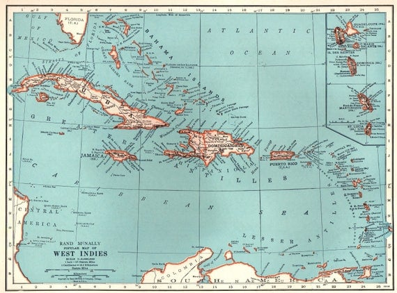 1939 Antique CARIBBEAN Map West Indies Islands Beach House