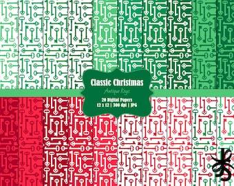 Antique Keys-Commercial Use-Digital Papers-Classic Christmas-Holiday-Skeleton Keys-Red-Green-JPG-Digital Scrapbook-Instant Download