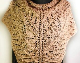 Hand knitted triangular lace shawl,Beige triangular lace shawl, Hand knitted triangular shawl, Women's lace shawl, Triangular scarf
