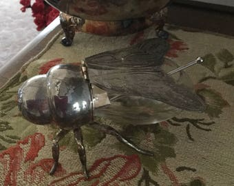 Vintage Goginger Clear Glass and Silverplate Head/Wings Honeybee Pot-Bee/Insect/Fly