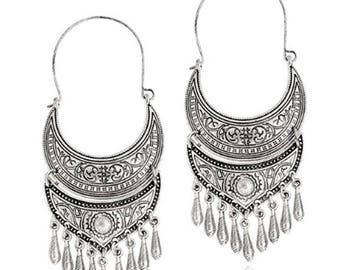 BOHEMIAN half moon long charms in antique silver