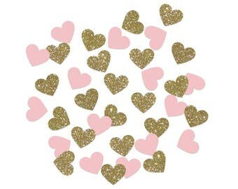 Pink & Gold Glitter Heart Confetti, Blush, Weddings, Baby Showers, Bridal Showers, Engagement Party, Anniversary, Scrapbooking, Party Favors