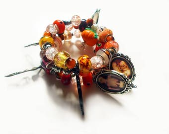 Orange Coil Bracelet - Beaded Bracelet - Orange Cuff - Gothic Jewelry - Halloween - Skull Charm - European Beads - Crackle Beads - Skeleton