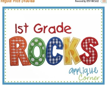 50% Off INSTANT DOWNLOAD 1st Grade Rocks applique design in digital format for embroidery machine by Applique Corner