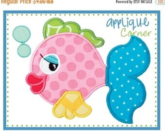 50% Off Fish with Bubbles applique digital design for embroidery machine by Applique Corner