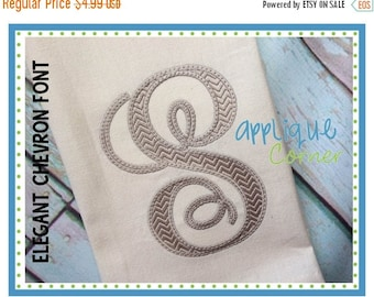 40% OFF INSTANT DOWLOAD 2279 Elegant Chevron Embroidery Font bx, pes and dst only digital design for embroidery machine by Applique Corner