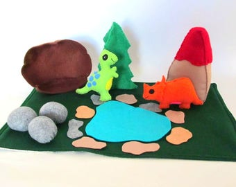 Dinosaur Felt Play Mat, Playscape, Dinosaur Toy, Dinosaur Play Toy, Waldorf Felt,