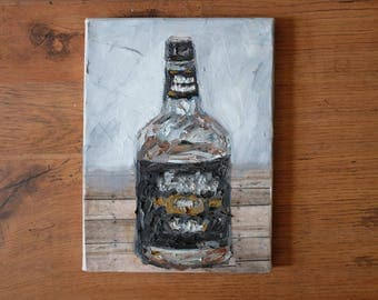 Study of Whiskey Bottle, original oil and collage on canvas painting
