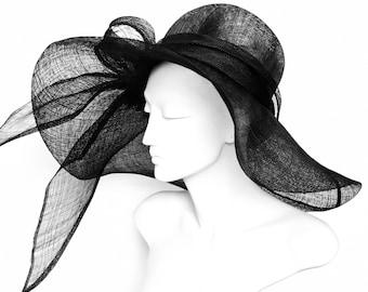 Wide Brim BLACk Straw Hat  Kentucky Derby Hat Large Brim Church  Hat Easter Hat