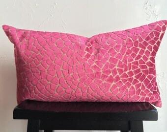Fuchsia Animal Print Pillow Cover, Pink Velvet Pillow Cover, 16x26 Decorative Pillow Cover, Velvet Lumbar Throw Pillow, Giraffe Pillow