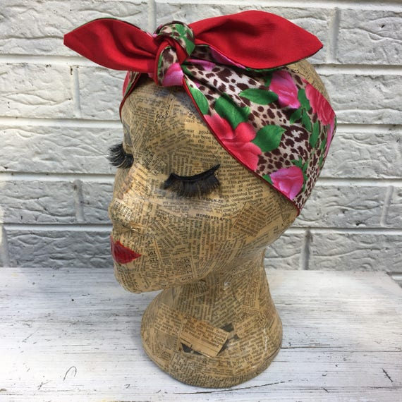 Leopard Print and Rose Headscarf Rockabilly Pinup 1950's Inspired