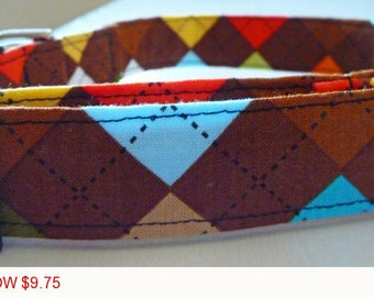"Sale - 50% Off - Boy Dog Collar - Argyle Dog Collar - Multi Argyle Brown, Blue, Orange & Yellow - ""Preston""-"