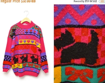 ON SALE 80s Scotty Dog Patterned Sweater Womens Adorable 1980s XL
