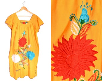 90s Embroidered Dress Costa Rica Floral Maxi Womens XL XXL Plus Size Orange Rainbow
