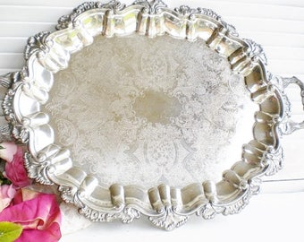 Silverplate Tray With Handles/Large Footed Tray Vintage Tray, Shell Design 23 inch/Wedding Tray/Tea Tray/Vanity/Serving Tray/ Estate Sale