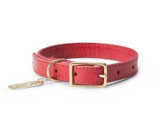 Leather Collar in Red