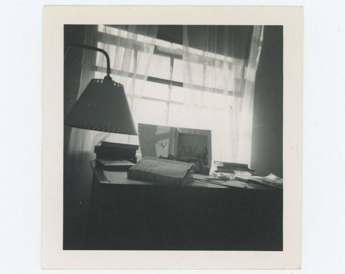 Vintage Snapshot Photo: Desk & Lamp, 1950s (78601)