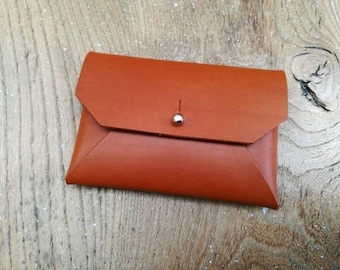 Tan leather coin wallet