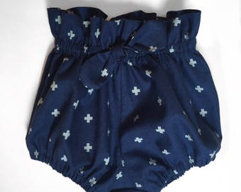 Dark Blue High Waisted Bloomers With Bow Embellishment Girls Sizes 3 mo to 3 T