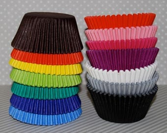 cupcake liners solid colored - 100 count - baking cups muffin cups standard size grease proof  - YOU PICK COLORS