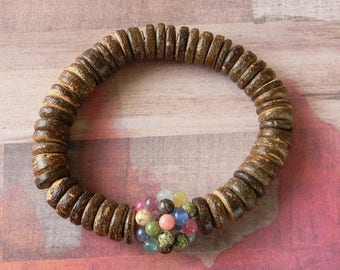 ON SALE Bead Ball Beaded Stretch Bracelet with Wood Beads