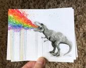 T-Rex Dinosaur Tastes the Rainbow Postcards Animal Postcard Set Funny Whimsical Animals Rainbow Cards Watercolor Postcards Rainbow Puke