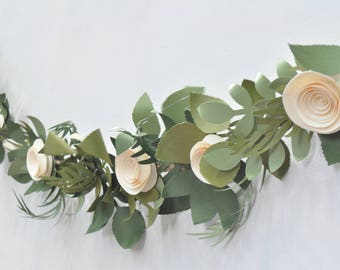 Paper Flower Garland, Wedding Garland, boho wedding garland, boho wedding ideas, paper flower ideas, paper garland, leaf garland