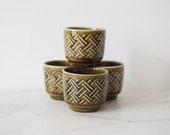 Vintage Egg Cup Mid Century Olive Green Seventies Set Of Four