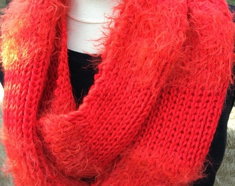 Beautiful red infinity scarf with faux fur