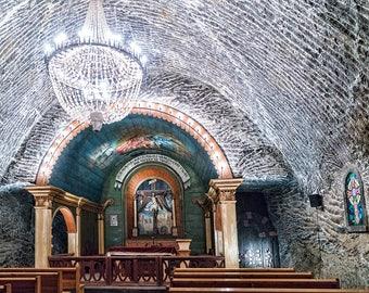 Krakow Chapel Salt Mine Church Underground Architecture Color Landmark City Europe Poland Art Photo Print