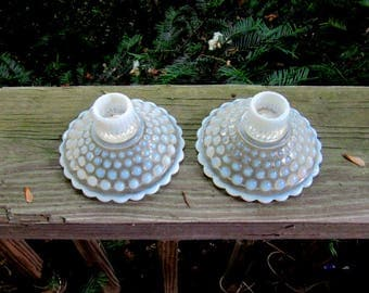 moonstone hobnail opalescent low candle holders