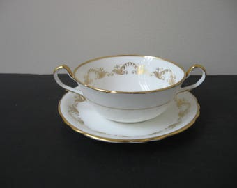 "AYNSLEY Bone China ""LOUIS XV"" Gold Scrolls Cream Soup Bowl & Saucer Set 8328 Scalloped"
