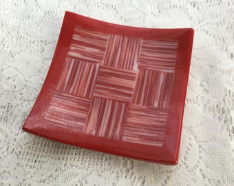 Fused Glass Patchwork Dish, Red White Strip Cut Art Glass Plate