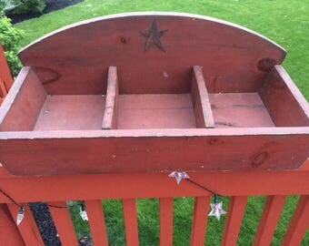 Vintage wood divided tray box