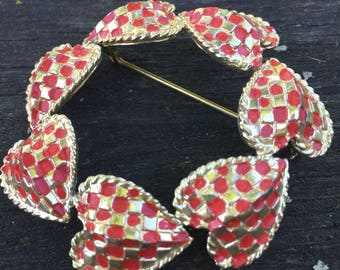 Red Heart Brooch ...Holiday Jewelry.. Old Jewelry ... Vintage Pin...