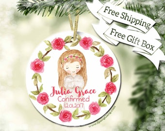 Confirmation Gift | Catholic Confirmation Gift| Personalized 1st Communion Gift | First Communion Ornament  | Religious Keepsake Gift | BC10