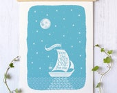 Sailing Boat Print | Valentines Gift | Valentine Gift | Anniversary Gift | Sailing Print | Nautical Print | Boat Print | Sailing Gift
