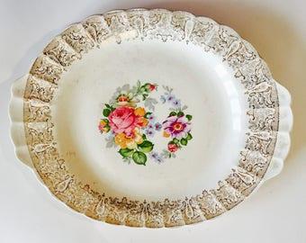 American Limoges China Platter Floral Pattern with 22 kt. gold filigree decoration