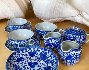 ANTIQUE TEA SET Japanese Blue and White Delicate Chinoiserie Bird 15 Piece Tea Service, 3 Cups, Saucers, 2 Creamers, 1 Sugar