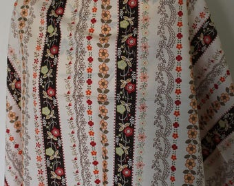 Beige cotton with floral stripes