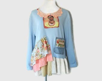 Frida Kahlo Sweatshirt Upcycled Women's Shabby Boho Clothing Ladies Juniors Tops Reloved Clothing Co