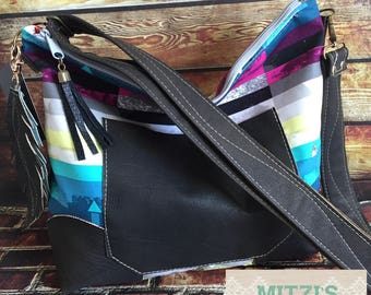 SHIPS TODAY  Slouchy Hobo w/ Genuine Leather, Feather & Crossbody Strap