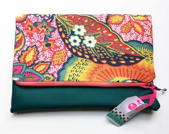 Teal Leather Clutch Bag, Faux Leather Fold Over Clutch with Liberty Floral Fabric, Handmade Clutch Bag, Faux Leather Clutch, Handmade Bag