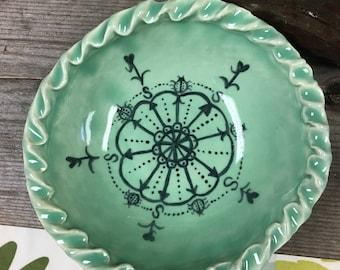 Ceramic Bowl, Handmade Ceramic Bowl, Handpainted Ceramic Bowl, Green Ceramic Bowl, Ceramic Cereal Bowl, Ceramic Icecream Bowl, Bowl Gift